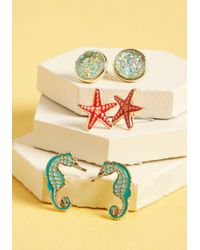 ModCloth - Suddenly I Sea Earring Set - Lyst