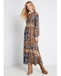 ModCloth Bohemian Dream Maxi Cotton Dress - Blue