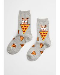 ModCloth The Perfect Combo Unisex Cotton Socks - Size Os - Gray
