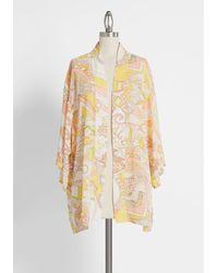 ModCloth Peaches And Queen Chiffon Kimono - Yellow