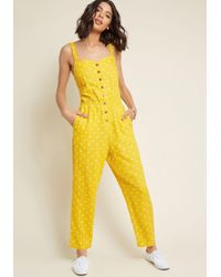 af1200b312c ModCloth - Every Waking Momentum Cotton-linen Jumpsuit - Lyst