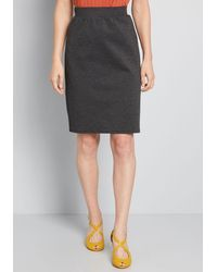 ModCloth Solid Choice Knit Pencil Skirt - Gray