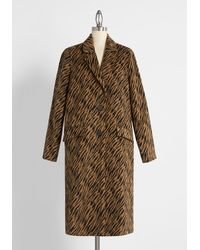 ModCloth A Tiger Doesn't Change Its Stripes Coat - Brown
