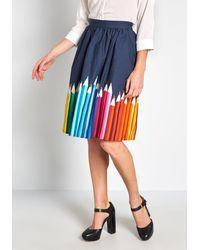 ModCloth Cotton Cotton A-line Skirt With Pockets - Blue