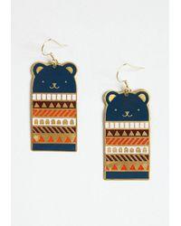 Mata Traders Bundled Up Bears Dangle Earrings - Blue