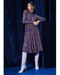ModCloth Print Appeal A-line Cotton Dress - Blue