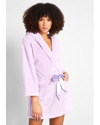 ModCloth You've Been Warmed Hooded Cotton Robe - Purple