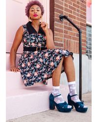 ModCloth One Floral, All For One Sheer Socks - Size Os - Multicolor