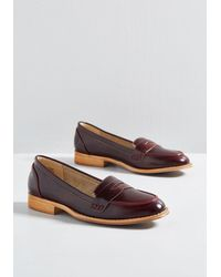 ModCloth Womens Wine Faux Leather Loafer - Multicolor