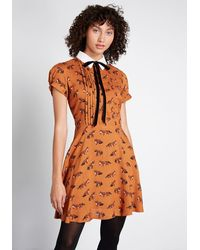 Hell Bunny Surprise Party A-line Dress - Brown