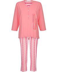 Hajo Pyjama Koraal/wit/kreeftrood