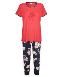 Ringella Pyjama Koraal/marine/ecru - Rood