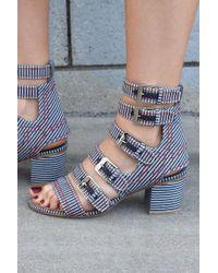 364dd3b1eee Lyst - Laurence Dacade Deric Studded Denim Block-heel Sandal in Blue