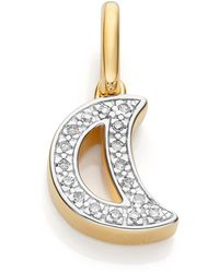 Monica Vinader - Alphabet Moon Diamond Pendant Charm - Lyst