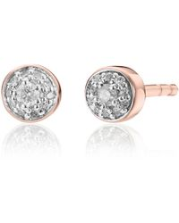 Monica Vinader Fiji Tiny Button Diamond Stud Earrings - Brown