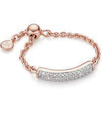 Monica Vinader Fiji Bar Adjustable Friendship Diamond Ring - Metallic