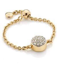 Monica Vinader - Fiji Mini Button Adjustable Friendship Diamond Ring - Lyst