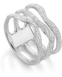 Monica Vinader Riva Diamond Wave Triple Ring - Metallic