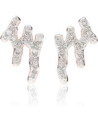 Monica Vinader Fiji 18ct Rose Gold Vermeil And Diamond Skinny Hoop Earrings - Multicolour
