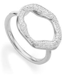Monica Vinader Riva Diamond Circle Ring - Metallic