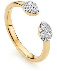 Monica Vinader Diamond And 18k Yellow Gold Fiji Bud Stacking Ring - Metallic