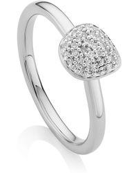 Monica Vinader Nura Sterling Silver And Diamond Pebble Stacking Ring - Metallic
