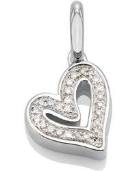 Monica Vinader Alphabet Heart Diamond Pendant Charm - Metallic