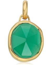 Monica Vinader Siren Medium 18ct Gold-plated Vermeil Silver And Green Onyx Pendant