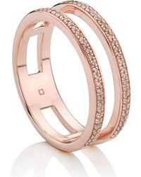 Monica Vinader - 18-karat Rose Gold-plated Sterling Silver Diamond Ring - Lyst