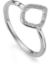 Monica Vinader Riva Mini Kite Diamond Stacking Ring - Metallic