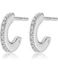 Monica Vinader Fiji 18ct Rose Gold Vermeil And Diamond Skinny Hoop Earrings - Multicolor
