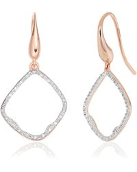 Monica Vinader Riva Diamond Hoop Earrings - Pink