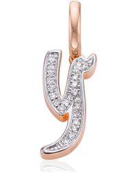 Monica Vinader - Alphabet Y Diamond Pendant Charm - Lyst