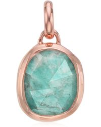 Monica Vinader Siren 18ct Rose-gold And Amazonite Pendant - Blue