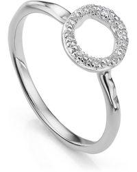 Monica Vinader Riva Mini Circle Stacking Diamond Ring - Metallic