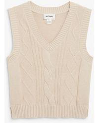 Monki Cable Knit Vest - Natural