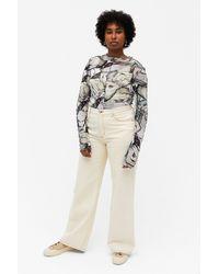 Monki Long-sleeve Mesh Top - Multicolour