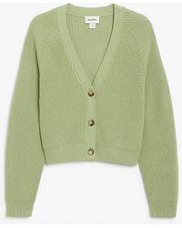 Monki Ribbed Cardigan - Green