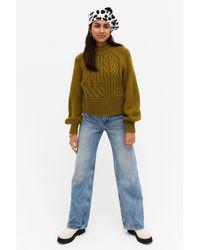 Monki Balloon Sleeve Knit Sweater - Green