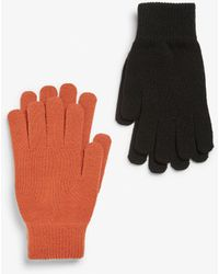 Monki Two-pack Of Knitted Gloves - Orange