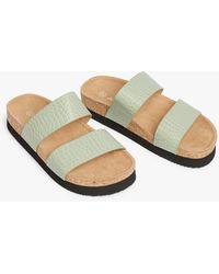Monki Flat Cork Sandals - Green