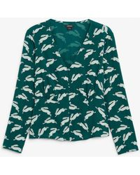 Monki - Shirred Blouse - Lyst