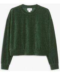 Monki Long-sleeve Velour Top - Green