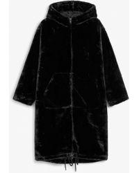 Monki - Long Faux Fur Coat - Lyst