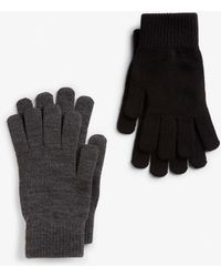 Monki Two-pack Of Knitted Gloves - Black