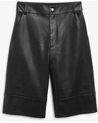 Monki Faux Leather Bermuda Shorts - Black