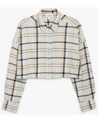 Monki Cropped Flannel Shirt - Natural