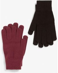 Monki Two-pack Of Knitted Gloves - Red