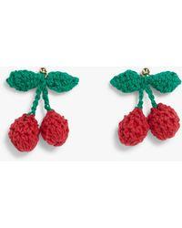 Monki Knitted Cherry Drop Earrings - Green