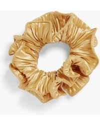 Monki Pleated Satin Scrunchie - Metallic